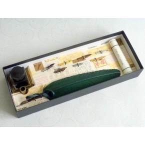 Penna calligrafica - piuma verde, inchiostro e supporto