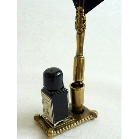 Black Feather Zinn Quill Ink & Halter