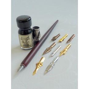 Trä Dip Pen 9 Nibs, Bläck och pennhållare