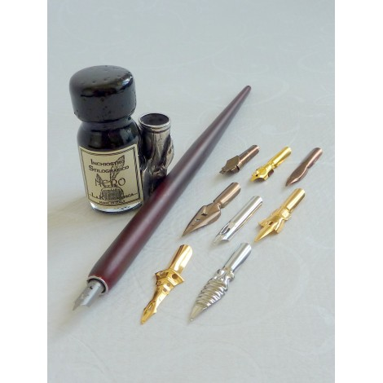 Dip de madeira Pen 9 nibs, pintura e pluma titular