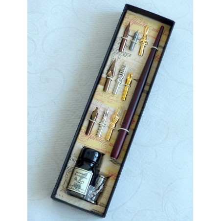 Wooden Dip Pen 9 Nibs Ink and Pen Holder