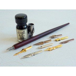 Dip legno Penna 9 Pennino, inchiostro e portapenne