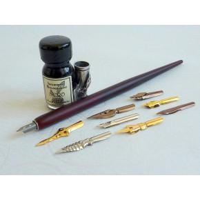 Wooden Dip Pen 9 Nibs, Blæk og Pen Holder