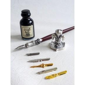 Legno e penna peltro tuffo, 6 pennini con il supporto di inchiostro e penna