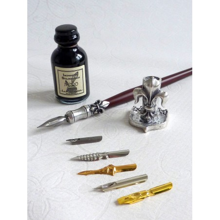 Wood and pewter dip pen 6 nibs with ink and pen holder