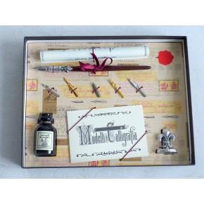 Calligraphy pen set - wood - pewter