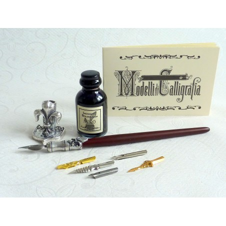 Penna calligrafica in legno e peltro
