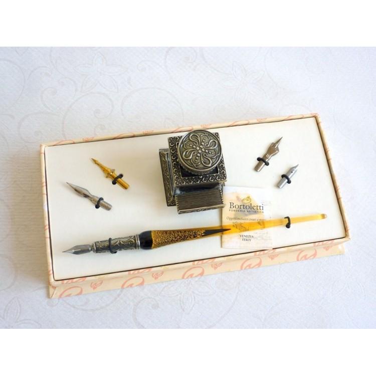 Glass Calligraphy Pen Set - Gold Leaf