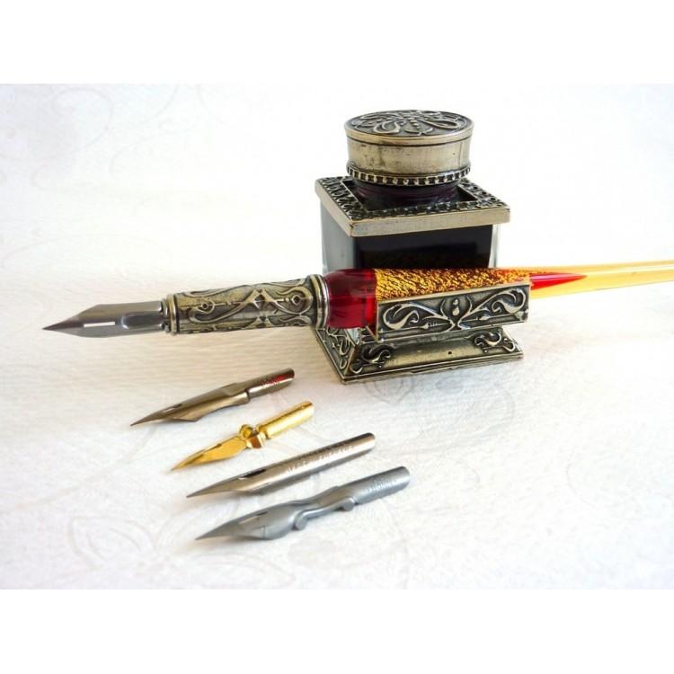 Glass Kalligraphie Pen-Set - Gold Leaf