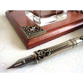 Set da scrivania per calligrafia con penna piuma
