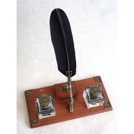 Feather pen calligraphy desk set
