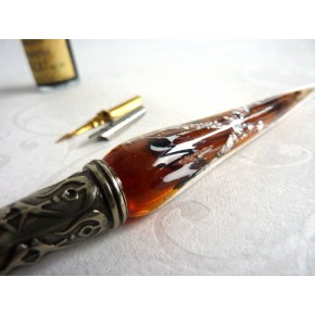 Silver Leaf Glass Calligraphy Pen & Ink