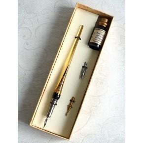 Foglia oro penna vetro calligrafia, pennini e inchiostro