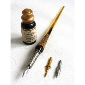 Bladgoud glazen kalligrafiepen, penpunten en inkt