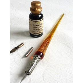 Hoja de oro de cristal Caligrafía Pluma, Semillas y tinta