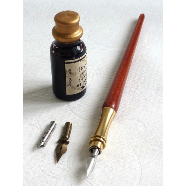Wooden Calligraphy Pen, Ink & Pen Rest