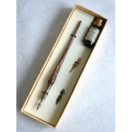 Penna calligrafica in rame e vetro