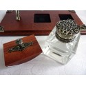 Feather Quill Dip Pen, Inkwell & Pen Holder