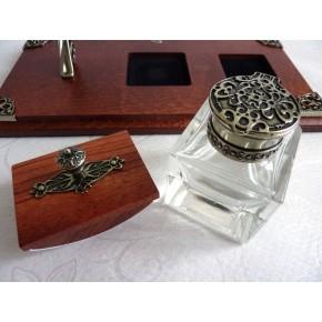Set da scrivania con penna per calligrafia piuma