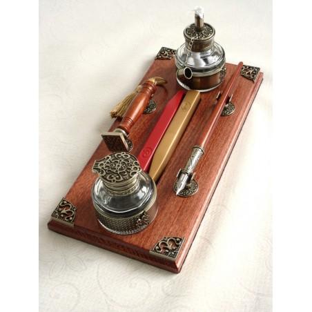 Wooden Calligraphy Pen & Wax Seal Desk Set