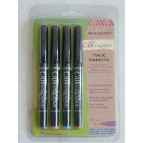 4 Color Embalaje cursiva Marker - Fine