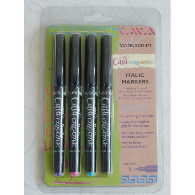 4 Colour Pack Italic Marker - Fine