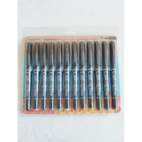 12 Assorted Colour Italic Marker Pens - Broad