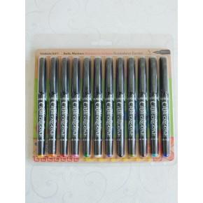 12 Blandade Färg Italic Marker Pennor - Fin