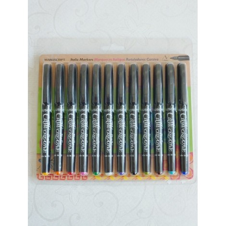 12 Assorted Farbe Italic Marker Pens - Fein