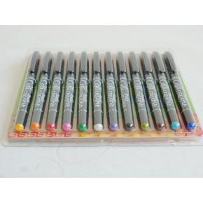 12 Assorted Colour Italic Marker Pens - Fine