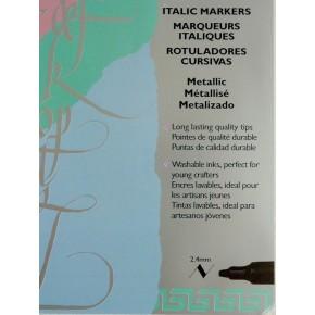 4 Pack Metallic Italic Marker - Medium