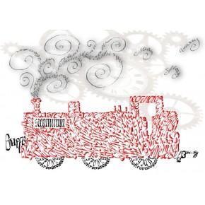 Vapeur moteur Carte de voeux