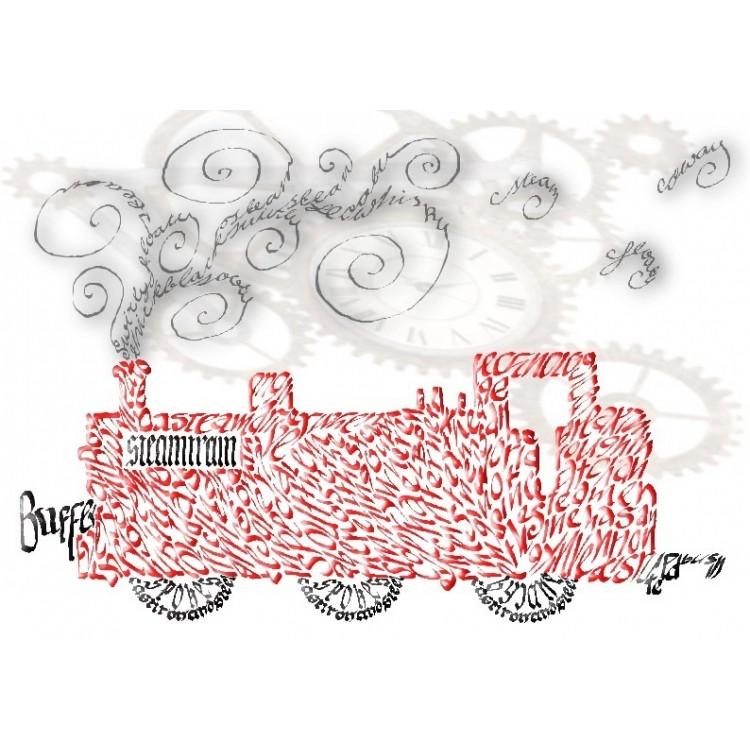 Steam Engine Grußkarte