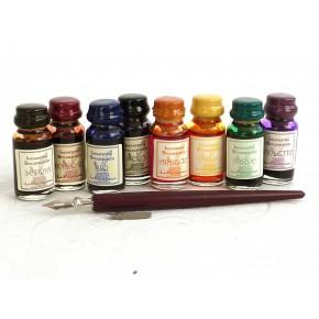Kalligrafipenna i trä med 8 färger