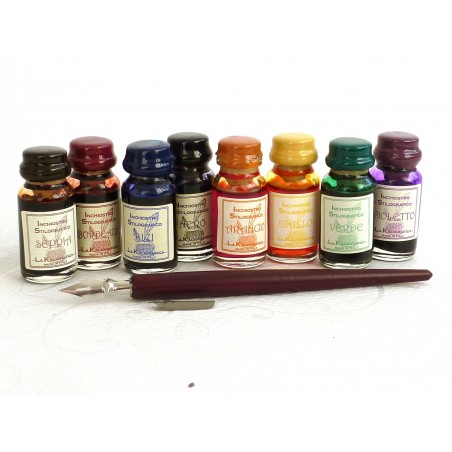 Wooden Dip Pen 8 Inks and 2 Nibs