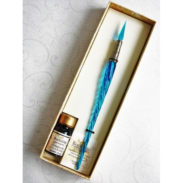 Penna calligrafica in vetro ritorto e pennino in vetro