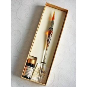 Zilveren blad glas pen met glas penpunt