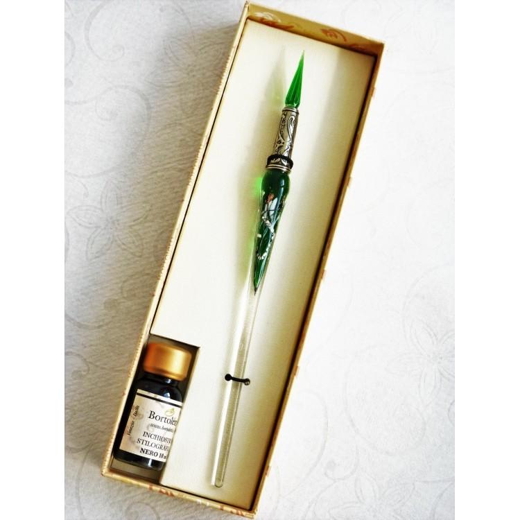 Sølv blad glas pen med glas nib