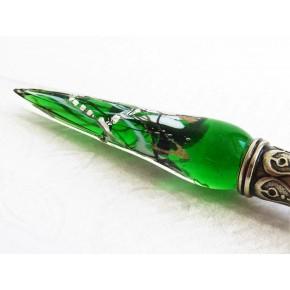 Penna d'argento vetro foglia con pennino in vetro
