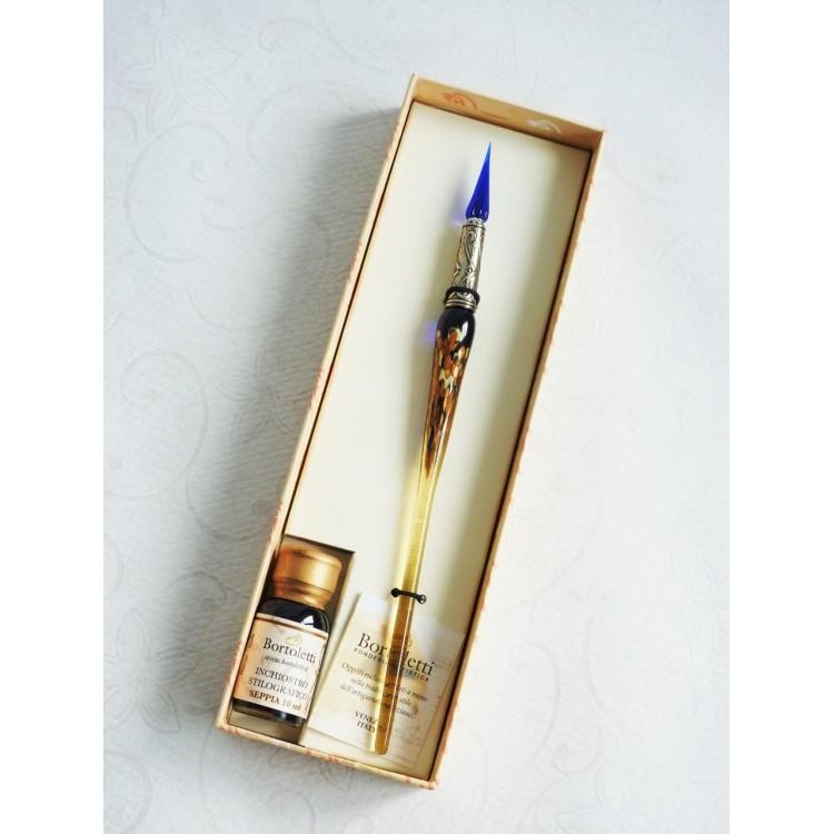 Oro penna vetro foglia con pennino in vetro