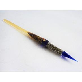 Bladgoud glas pen met glas penpunt