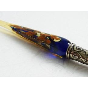 Bladguld glaspenna med glasspets