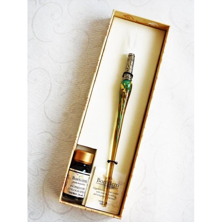Gold leaf glass pen with glass nib