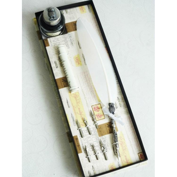 Blanco pluma de la pluma y de la tinta con un diseño del buho