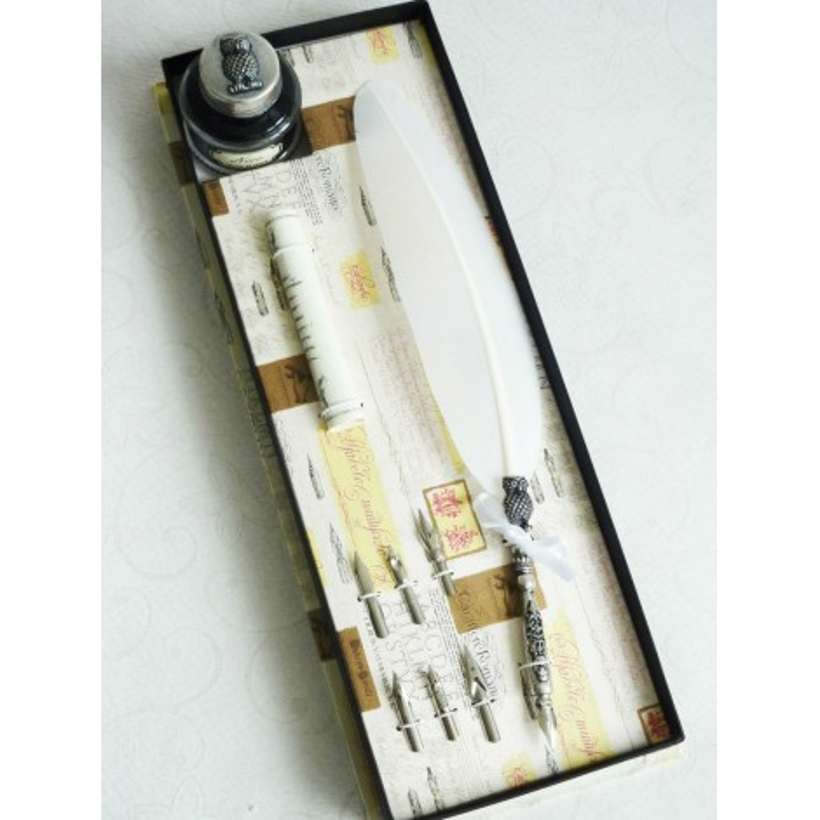Penna d'oca piuma bianca e inchiostro con un design gufo