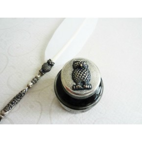 White Feather Quill Dip Pen Ink Owl Design