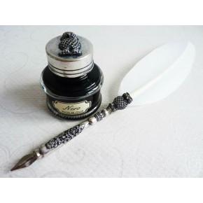 Penna piuma bianca - Disegno gufo