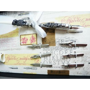 Hvide fjer pen og blæk med en ugle design