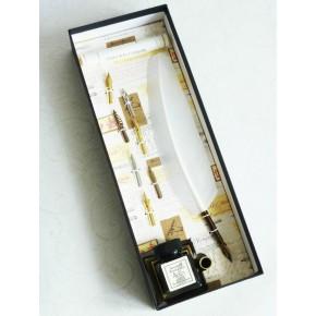 Weiße Feder Federkiel mit acht Nibs und ein Tintenhalter