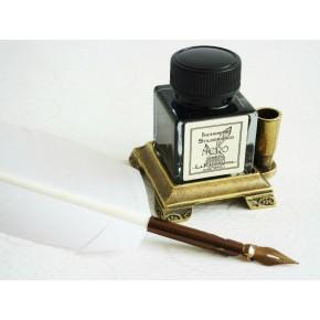 Penna piuma bianca con inchiostro e supporto